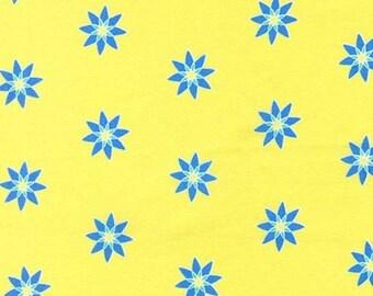 Star Bloom Blue Star Flowers on Lemon Yellow by Michael Miller - DC7181-LEMON-D