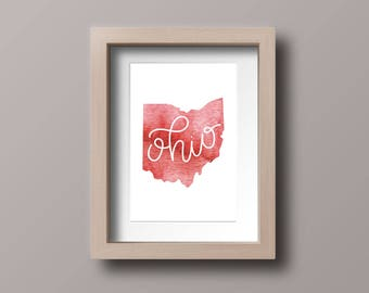 Ohio watercolor map, state map, downloadable, printable