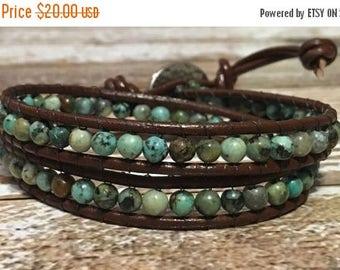 SALE Chan Luu Style Bracelet / African Turquoise Jewelry / Boho Bracelet / Leather Wrap Bracelet / Bohemian Jewelry / Chan Luu Bracelet