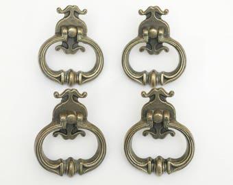 Pat. Pend. Drawer Pulls/Handles. Vintage. Solid Metal. 1970s antique brass finish. Dresser. Cabinet.