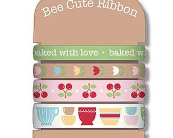 Bake Sale 2 Ribbon Card by Lori Holt of Bee in My Bonnet for Riley Blake Designs- Four Different Ribbons- 8 Yards Total