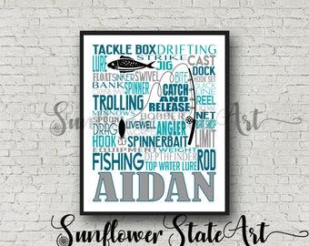 Personalized Fishing Poster, Gift for Fisherman, Fishing Gift Ideas, Typography, Fishing Art, Fishing Print, Gift for him, Fisherman Gift