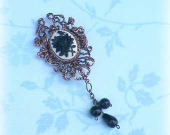 Gothic Brooch Pin Cameo Black Rose Victorian Vintage Style Steampunk Antique Brass Style