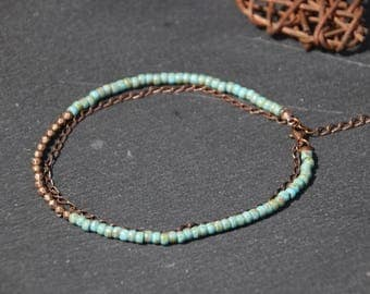 Ankle bracelet ethnic boho Bohemian, multi-row chain copper metal picasso finish turquoise Czech glass beads