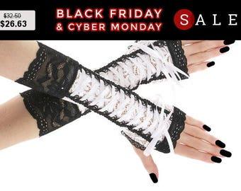 White black lace fingerless mittens, wedding arm warmers gothic, steampunk, vintage bridal women evening gloves, goth lolita wedding 0385