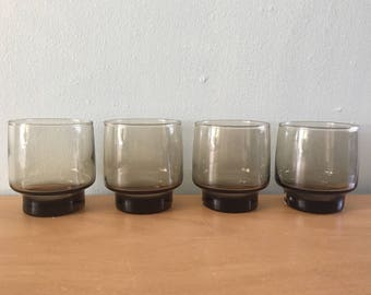 Fantastic Mod vintage set of 4 smokey brown Libbey cocktail / Lo Ball / rocks glasses stackable for your Old Florida home bar!