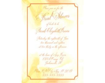 Yellow Swirl Watercolor Bridal Shower Invitation