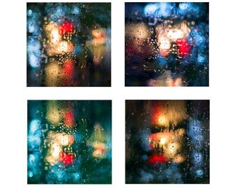 Abstract art, Abstract Art Print, Abstract Poster, Abstract wall art, Rain, Sets of 4 prints, Square prints, Abstract prints, Home Decor