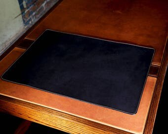 """Black Leather Table Mat, Protective Desk Pad 13"""" x 18"""", Desktop Mat, Office Table Pad, Leather Writing Pad"""