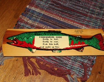 "Vintage ""Fishermens Code"" wooden plaque wall hanging motto 13"" X 4"" The Harold Warp Pioneer Village Minden Nebraska Fishing cabin decor fish"