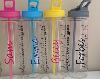 Personalised motivational water bottle tracker with times, personalised water bottles, gym bottles, motivational bottles, girlfriend gift,