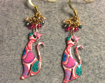 Pink and teal paisley enamel cat charm earrings adorned with tiny dangling pink and teal Chinese crystal beads.