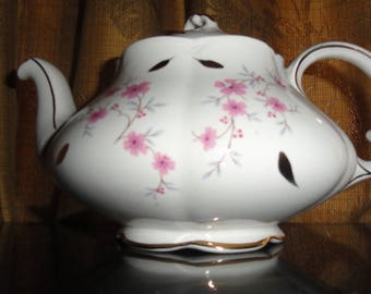 Vintage Mid Century Ellgreave England Wood & Sons Pink Flowers with Green Leaves and Gold Trim On White Teapot