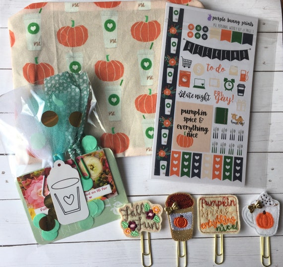 Pumpkin Spice Latte Planner Kit* Fall Planner Clip* Fall bag* PSL  fabric bag* pencil bag* Planner Stickers* Fall Washi