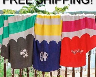 Monogram Round Beach Towel-FREE SHIPPING!!-Embroidered Round Beach Towel-Personalized Round Beach Towel