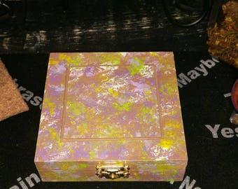 Rune Box, Hand Painted Wooden Rune Box, Jewelry Box, Storage or Display Container, Crystal Keepsake, Rune Box, Witch Box