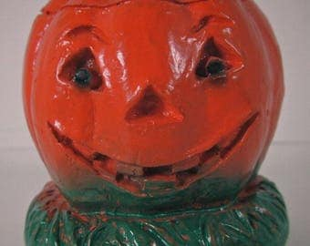 Halloween 158 Jack-O-Lantern Vintage Chalkware Moulded 1950's Decoration