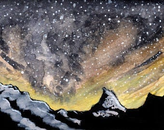 "Galaxy night sky print 4. Galaxy night sky landscape signed watercolor print by Eric Boireau. These are 5x7""matted and backed to 8x10""."