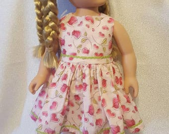"Roses and hearts pink doll dress fits American Girl and other similar 18"" inch dolls"