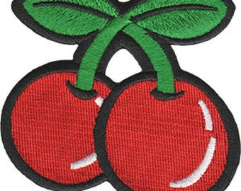 Cute Cherries Embroidered Patch / Iron On Applique, Rockabilly, Girly, Retro, Kids, Babies