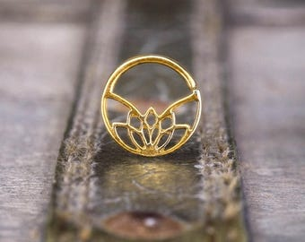 SALE Lotus Septum Ring, Gold Septum, Indian Septum Ring, Tribal Septum, Gold Nose Ring, Septum Jewelry, Septum Piercing 18g
