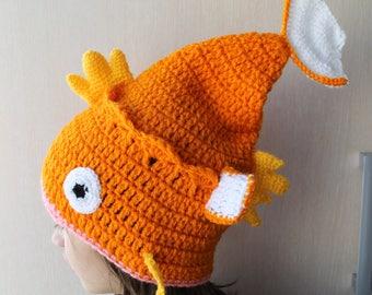 PATTERN Magikarp Slouchy Hat, Magikarp Hat Crochet Pattern, Magikarp Pokemon Crochet Hat, Pattern Hat Pokemon, Pokemon Magikarp Pattern