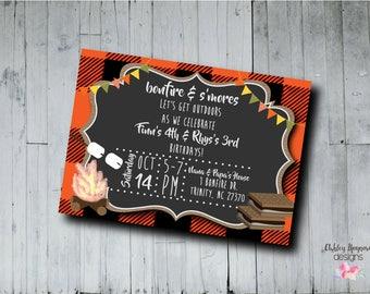 Bonfire Invitation, S'mores Birthday Invitation, Fall Birthday Invitation, Joint Birthday Invitation, Digital/Printable