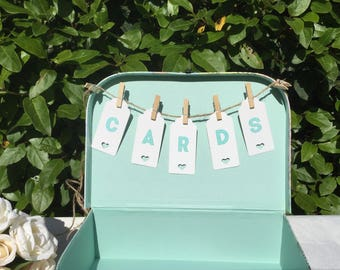 CARDS Bunting, case tags, mini, 23cm,Wedding Cards Suitcase Bunting.Mint, Wedding Card holder Bunting,  Cards bunting, shabby chic, card Box