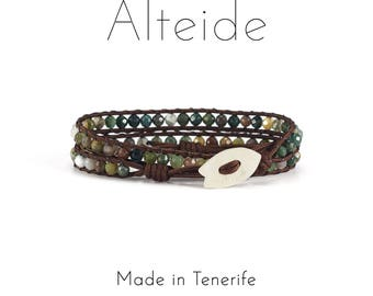 Bracelet Masca 2 waves - Alteide - made in Tenerife - surf inspired - 925 Silver - hombre mujer - Indian Agate