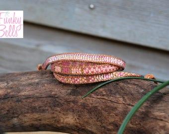 minimalistic wrap bracelet pink gold