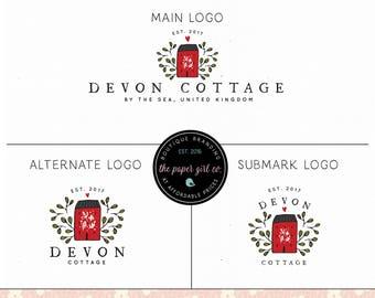 house logo cottage logo cabin logo nature logo rustic logo premade logo photography logo pre made logo boutique logo hand drawn logo