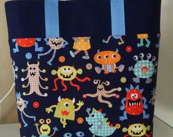 Childrens Library Tote Fun Monsters Tote Bag Book Bag