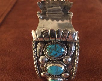 Vintage Navajo Sterling Silver & Turquoise Stone Mans Watch Cuff