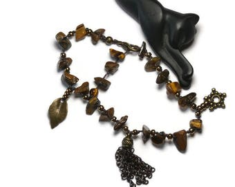Bohemian charm bracelet, Tiger eye and beads bronze