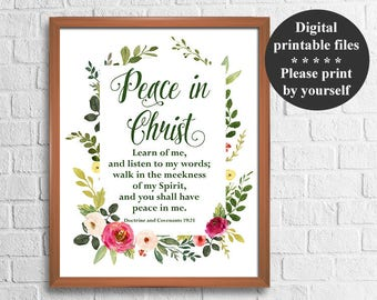 LDS Young Women Mutual Theme 2018, Peace in Christ, D&C 19:23, 8x10'' + 16x20'' Signs