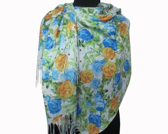 White Blue Scarf, Boho Shawl, Floral Pashmina Scarf, Floral Fashion Shawl, Mothers Day Gift, Floral Shawl, Light Scarf, Gifts for Women