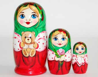 Nesting dolls Little girl with teddy bear / toy for kids / personalized custom russian matryoshka doll