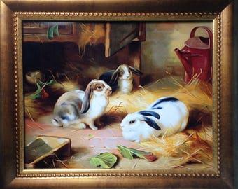 Framed Print - Rabbits In The Barn 8 x 10