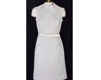 1960s white A-line dress from Butte Knit