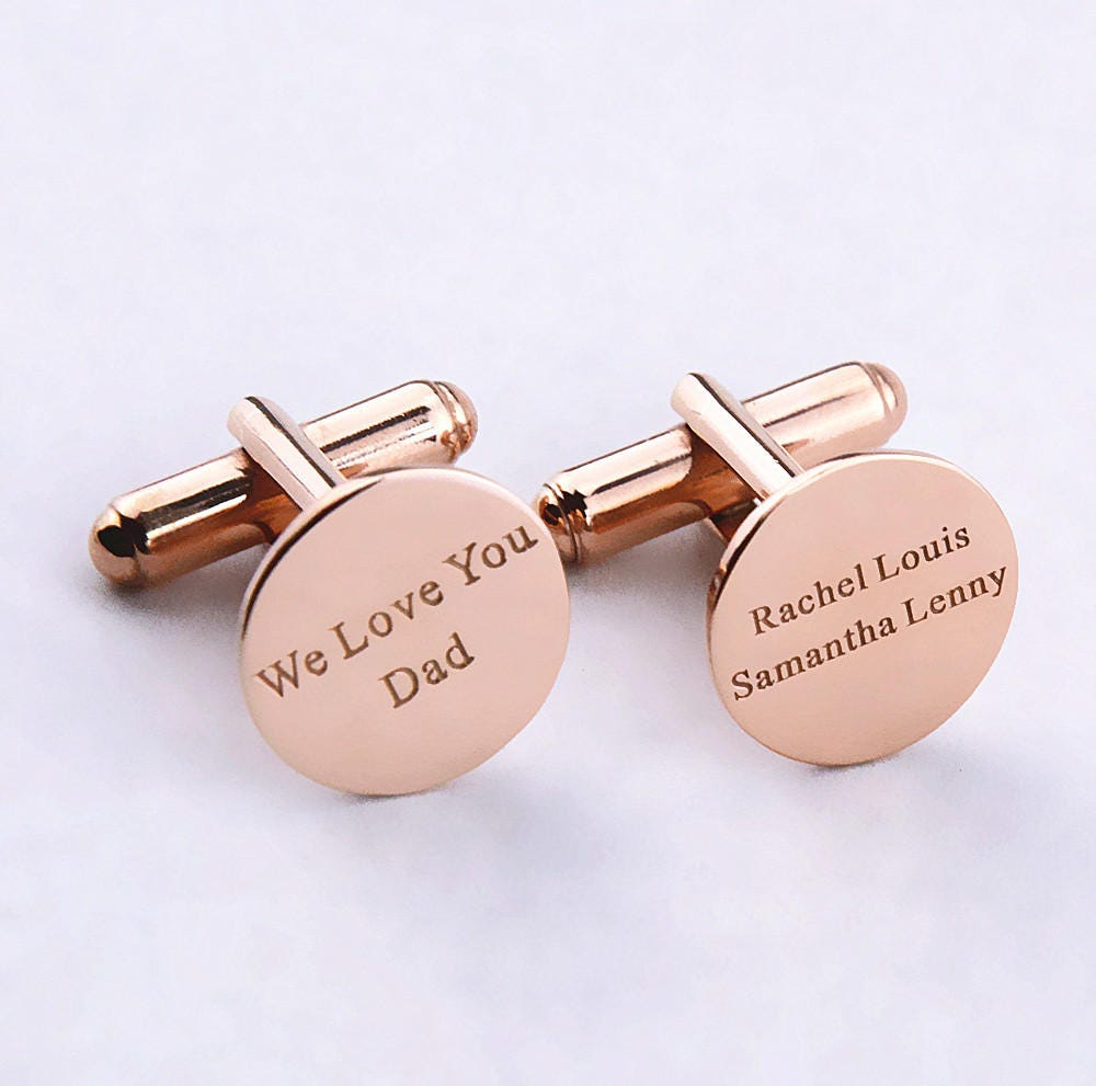 Rose Gold Personalized Wedding Cufflinks,Engraved Name Cufflinks ...