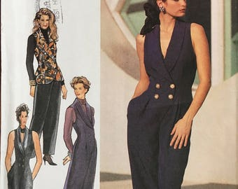 Style Pattern 2153 Jumpsuit Waistcoat  Pants Sz 6-16  Sleeveless, double breasted Jumpsuits and Waistcoat