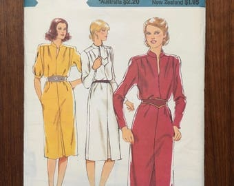 Style sewing pattern 2840 Front Seam dress, chinese collar, belted dress