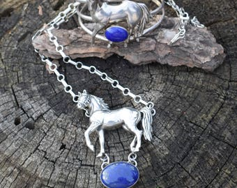 Carol Felley Horse necklace dimensional huge  sterling rare 1991 southwest signed necklace with lapis