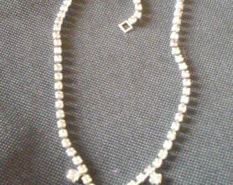 Glass Diamond Necklace Vintage