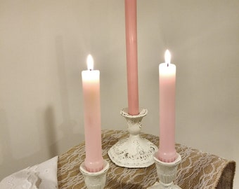 Set of 3 Vintage White Shabby Chic Metal Candle Holders