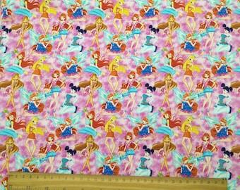 Winx Club cotton lycra knit fabric digital printing, RC026 -  - 1 meter