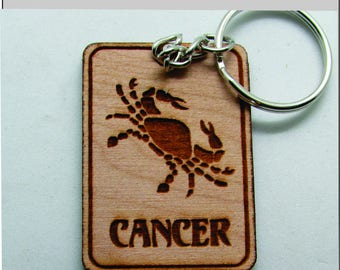 Cancer Key chain, Key ring, Zodiac Signs,Astrology Signs, Key Chain, Canacer