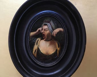 Truly Amazing Antique Miniature Painting of a Lady Yawning