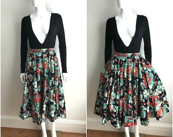 Vintage Cotton STRAWBERRIES STRAWBERRY Full Circle Skirt Pockets Rockabilly S M