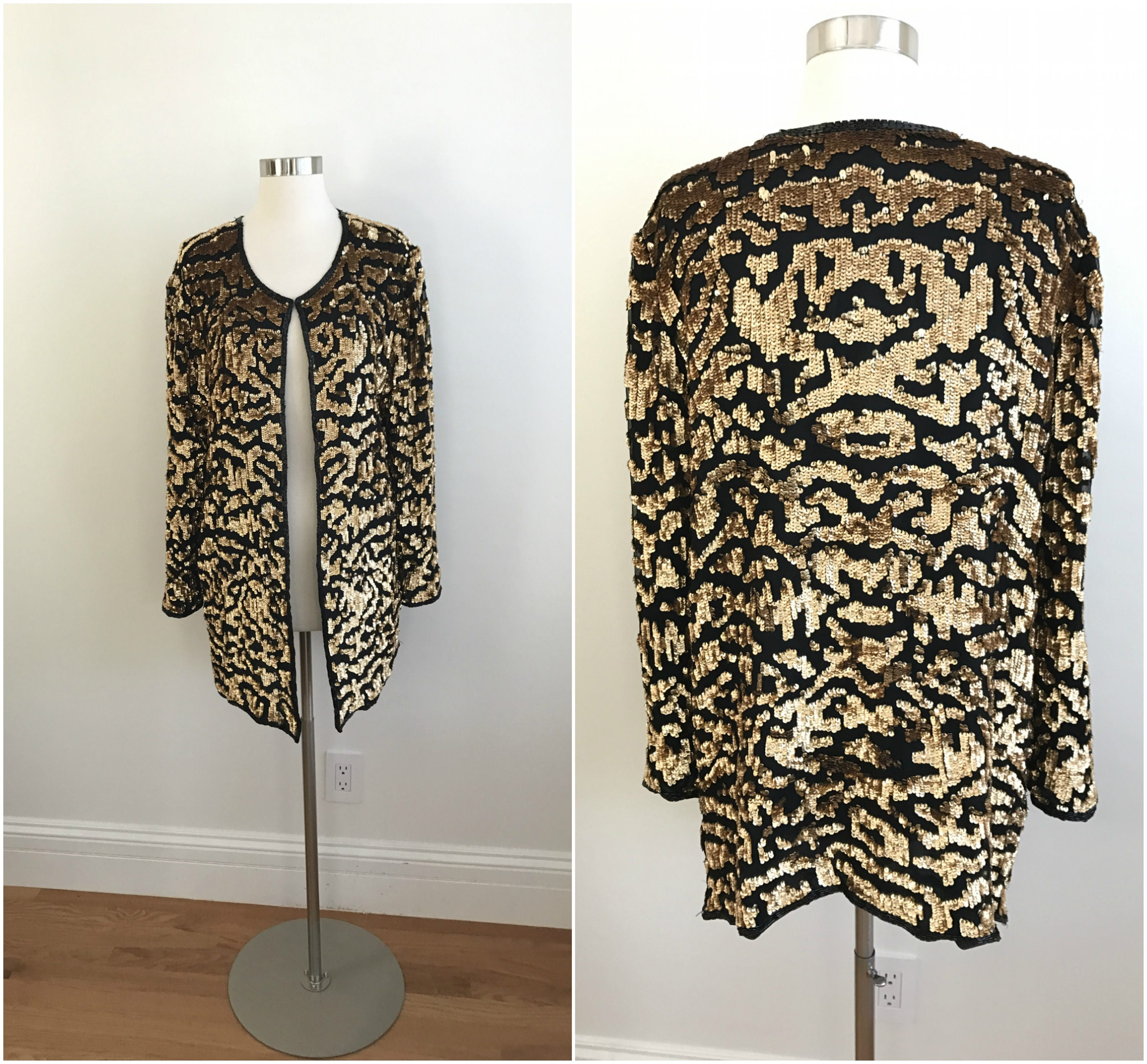 Vintage 1990s Leopard Animal Print Sequin KIMONO Jacket BEADED